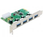 Karta PCI Express->USB 3.0 4-port + śledź low profile Chipset NEC Delock