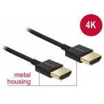 Delock HDMI-HDMI High Speed Ethernet 4K 3D 0.255m