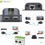 Extender HDMI Techly po skrętce Cat. 6/6a/7, do 60m, Full HD z IR, czarny