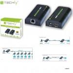 Extender / splitter HDMI Techly po skrętce Cat. 5e/6/6a/7 do 120m, over IP, czarny