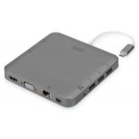 DIGITUS USB Typ C 11-portów Dual Monitor 4K 30Hz PD 2.0 HQ aluminiowa