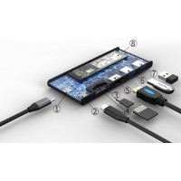 HUB ADT 601 USB-C 6W1+SSD M2 256GB