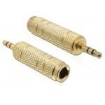 Delock Minijack 3,5mm - Jack 6,35mm M/F złoty metalowa obudowa